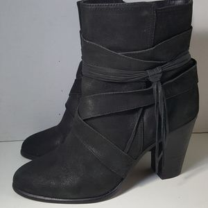 Vince Camuto Black Leather Ankle Boots Booties 9.5